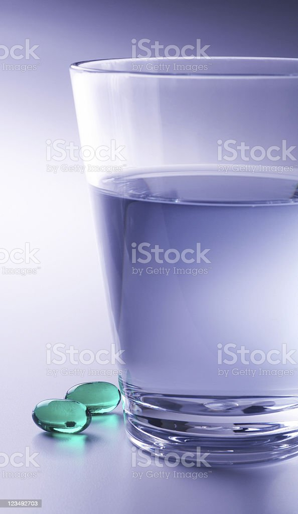 pills and water stock photo