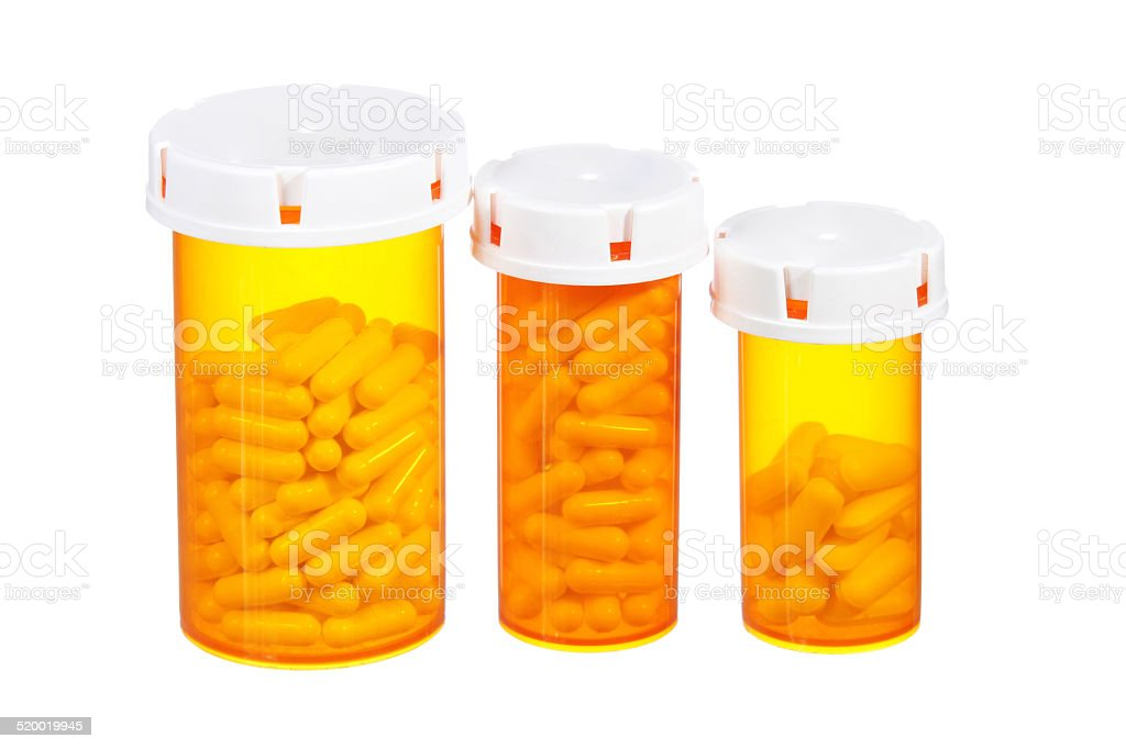 Pills bottles isolated. Medical stock photo