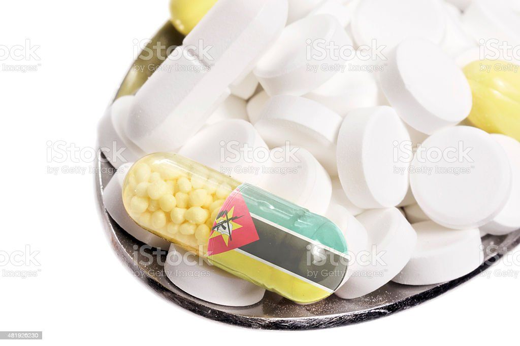 Pills & capsule with the flag of Mozambique.(series) stock photo