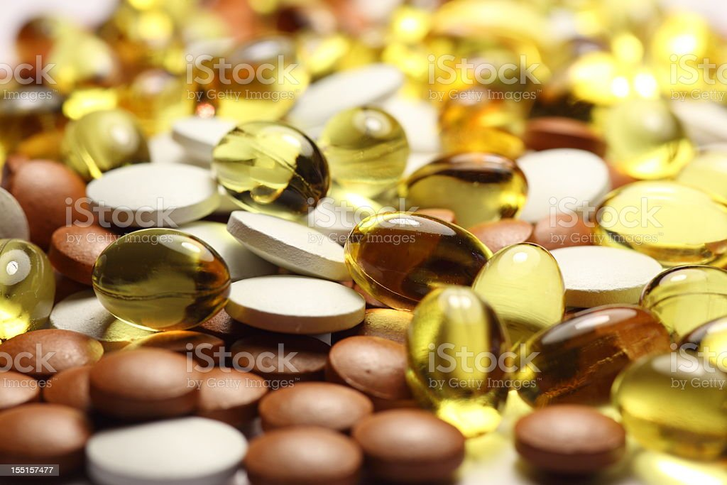 Pills, Capsules and tablets full frame royalty-free stock photo