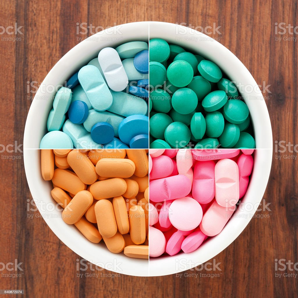 Pills composition stock photo