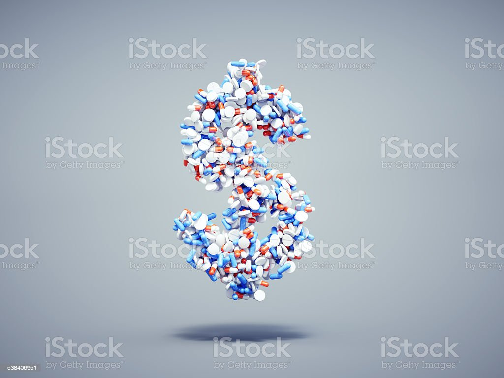 Pills dollar symbol stock photo