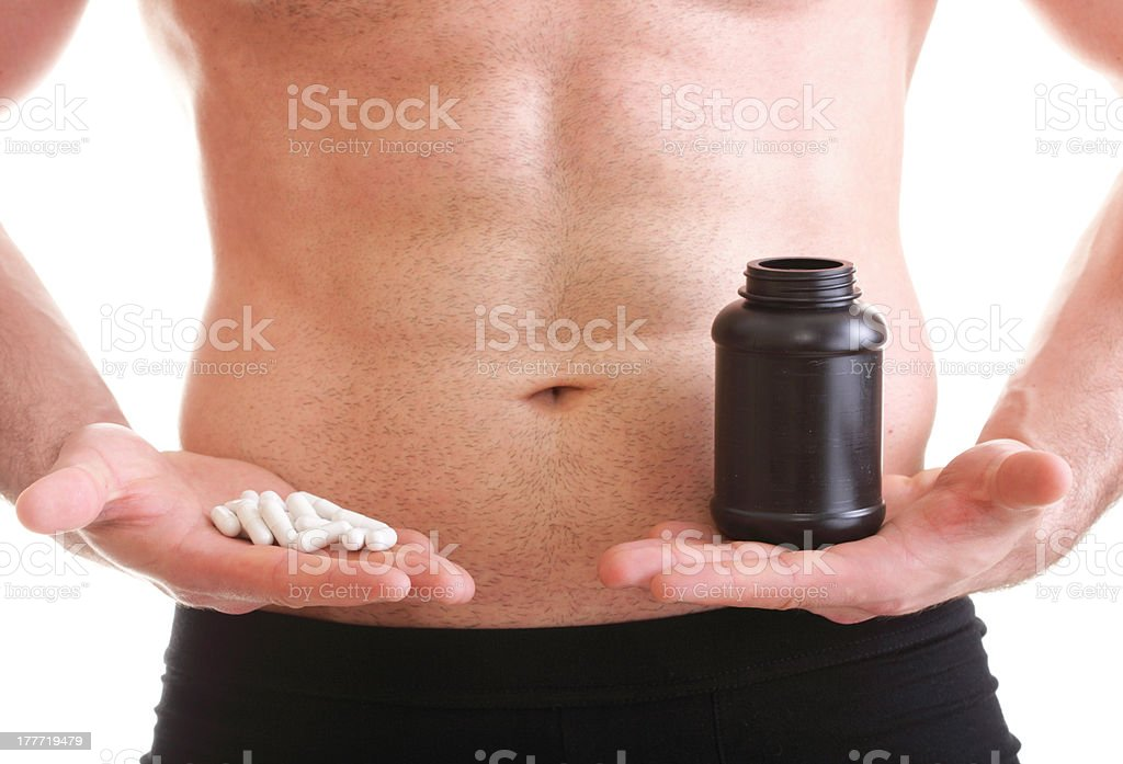 pills drag tablet boxes supplements Man isolated royalty-free stock photo