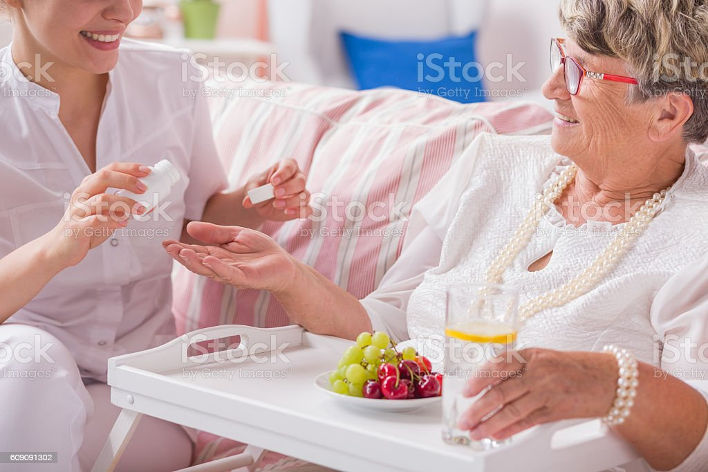 Pills for daily therapy stock photo