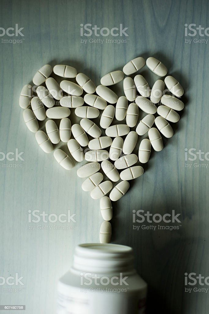 Pills - Heart shape stock photo