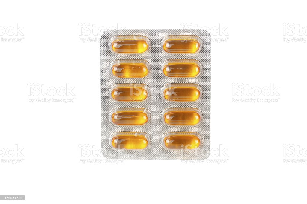 Pills in blister packs as a background royalty-free stock photo