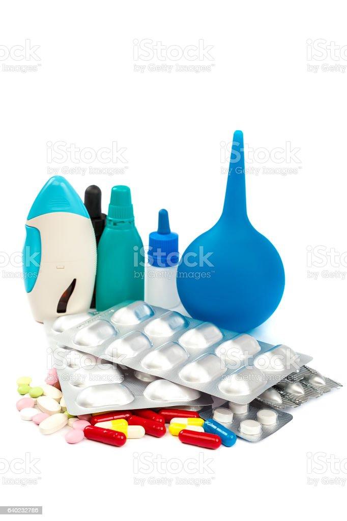 Pills in blister packs on white background. stock photo