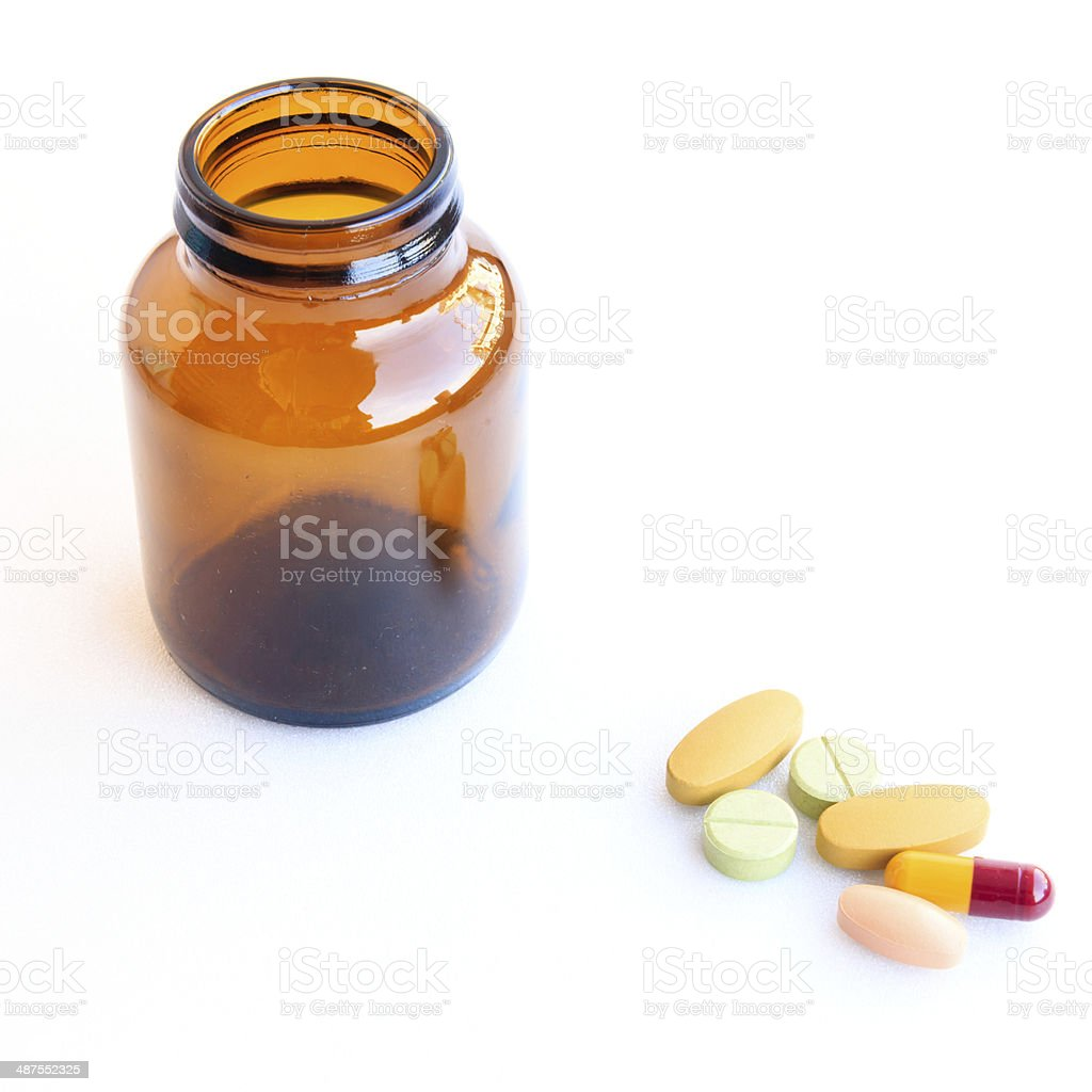 pills in blisters isolated on white background stock photo
