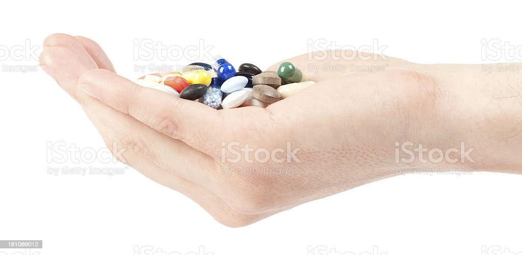 Pills in hand royalty-free stock photo