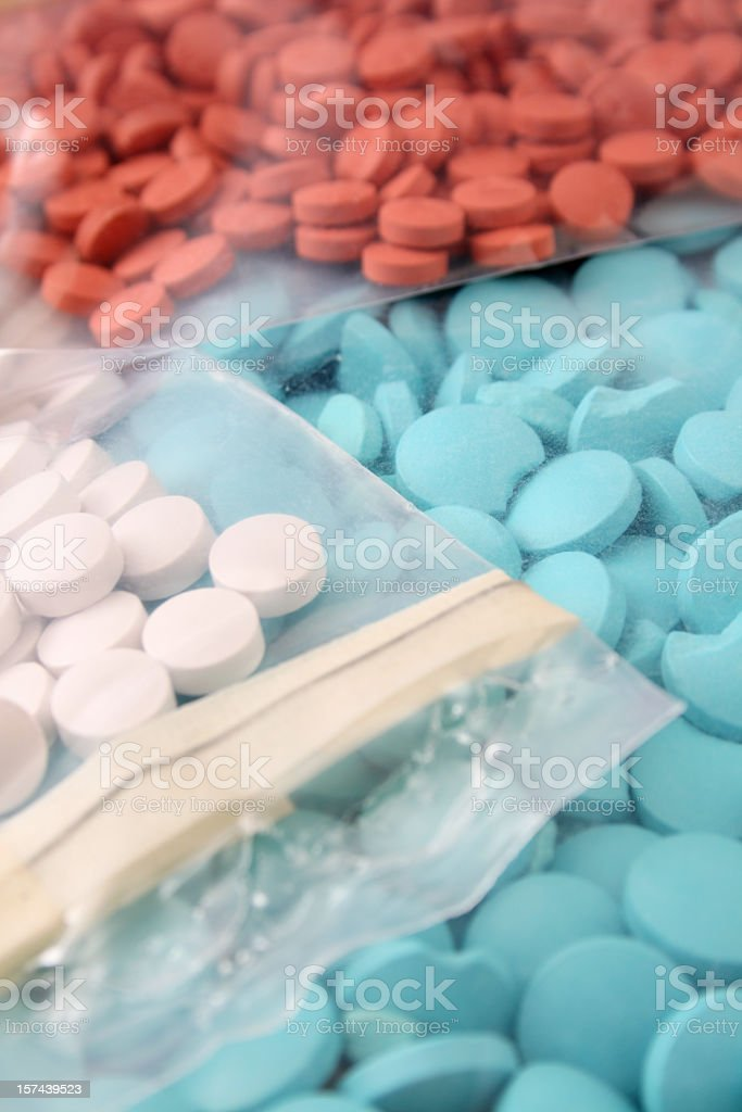 Pills in plastic bags stock photo