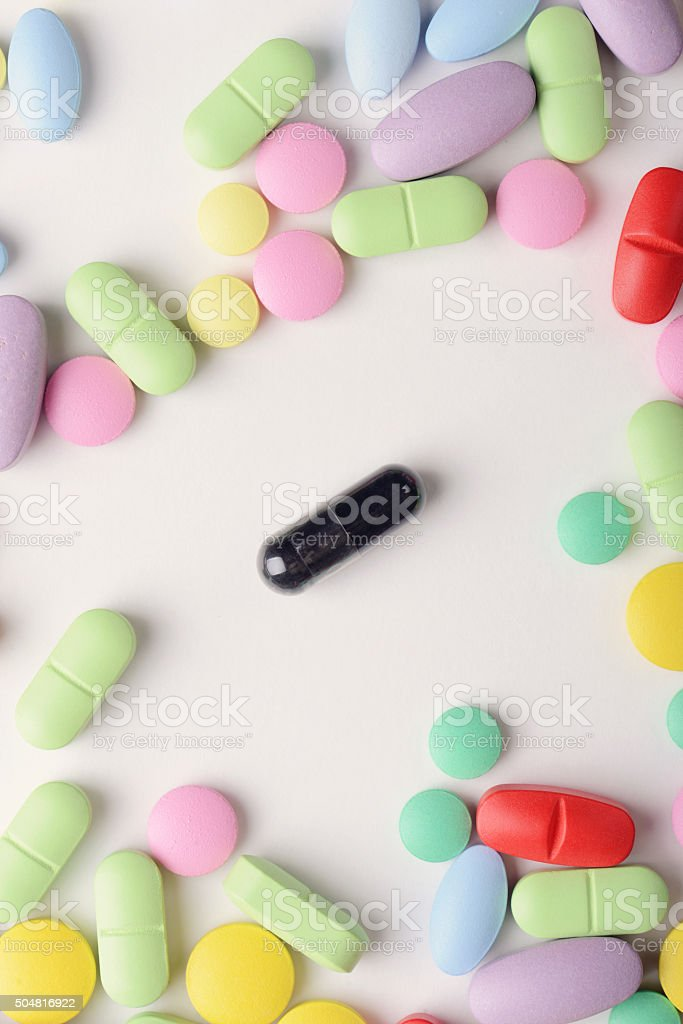 pills isolated on white background stock photo