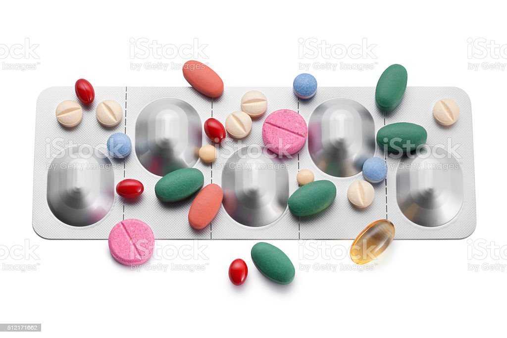 Pills on a blister stock photo