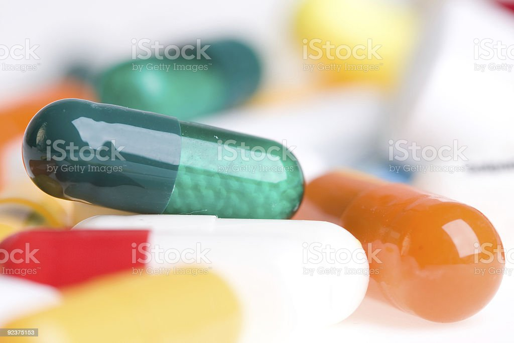 Pills on a white background stock photo