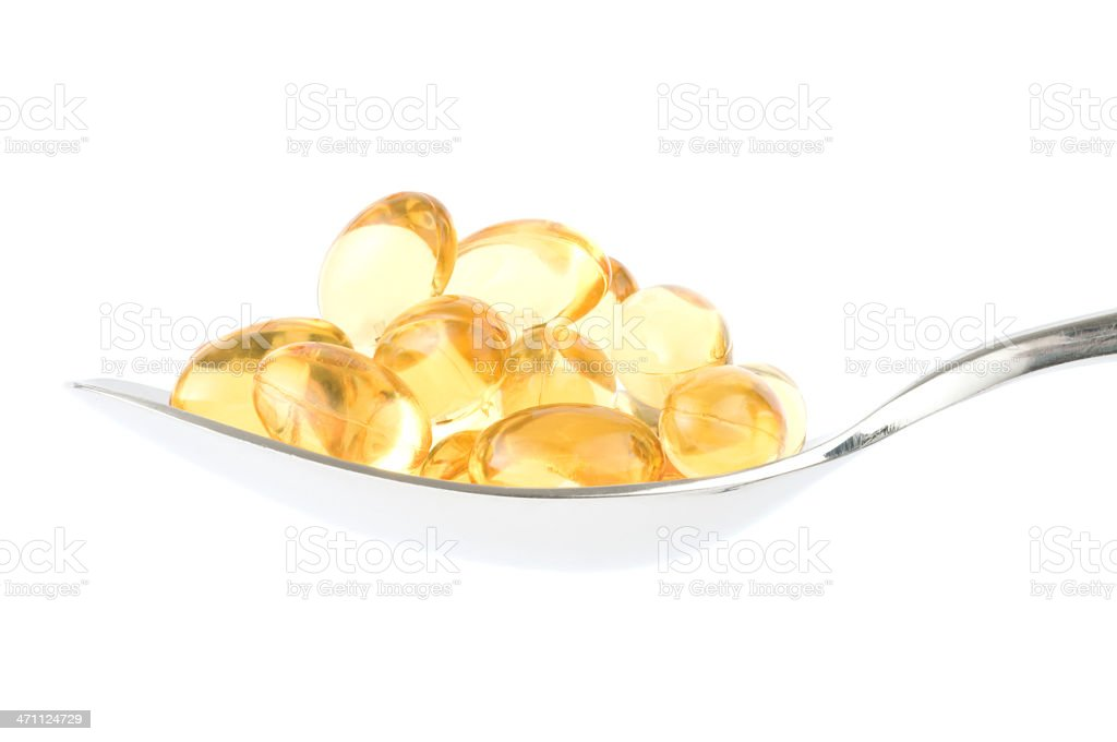 Pills on Spoon (Clipping Path) royalty-free stock photo