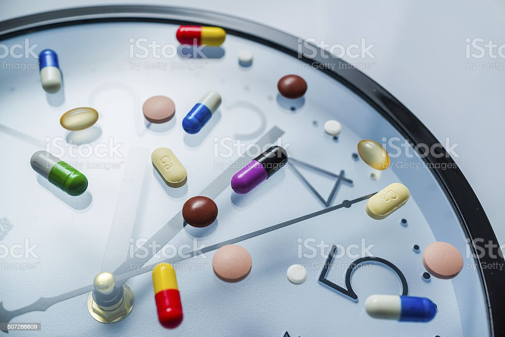 pills on the clock stock photo