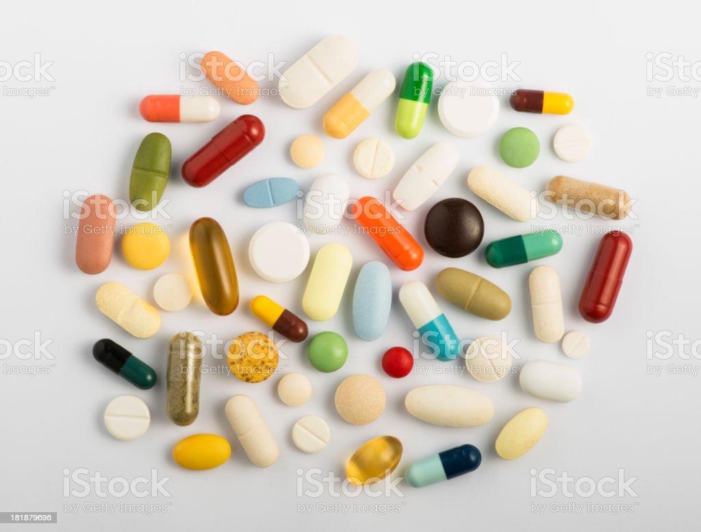 Pills on white stock photo