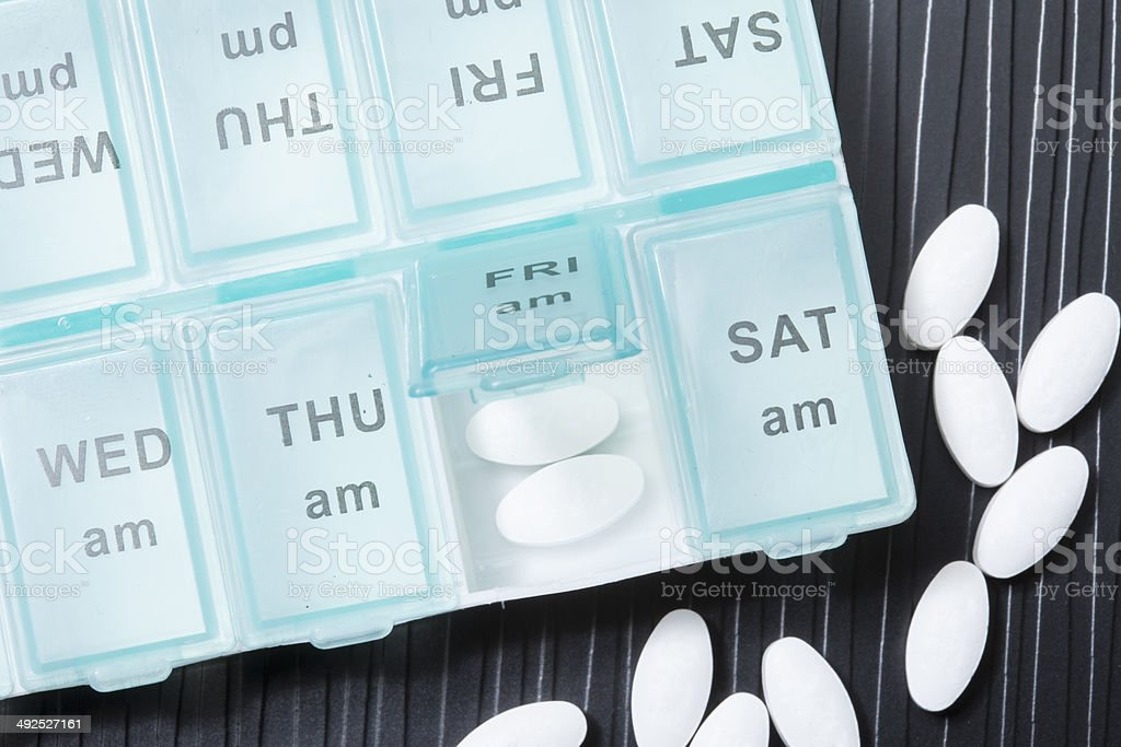 pills organizer stock photo