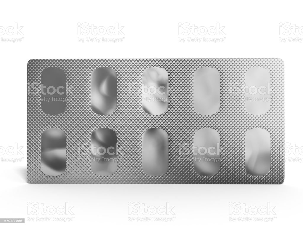 Pills Package Blister back side 3D illustration on white stock photo