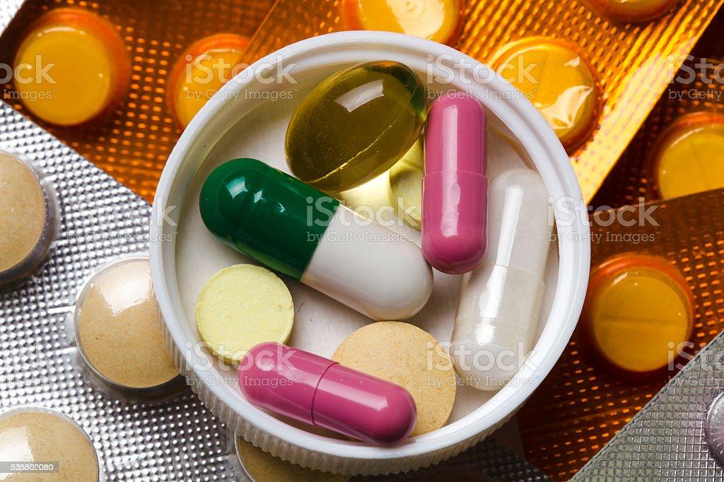 pills set background stock photo