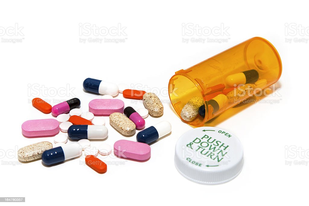 Pills Spilled From Bottle royalty-free stock photo