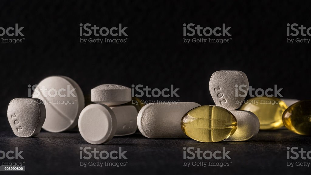 pills studio macro closeup stock photo