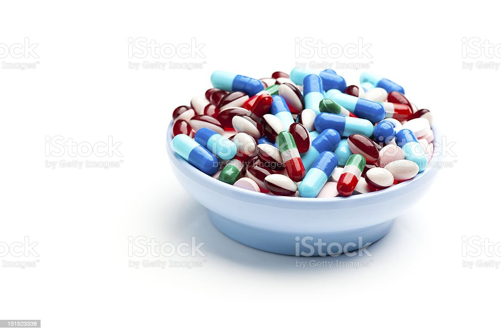 Pills, Tablets, Capsules in a Bowl stock photo