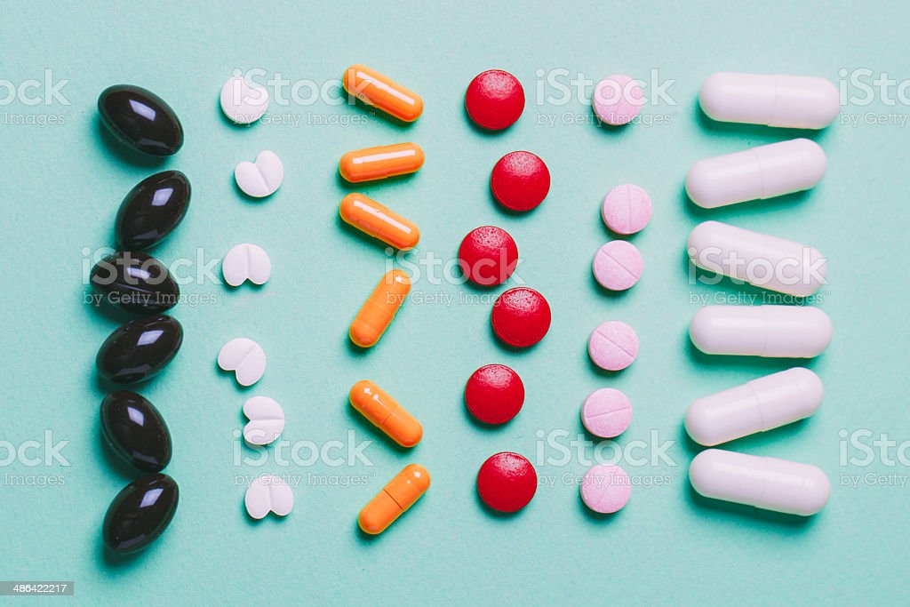 Pills tablets capsules stock photo