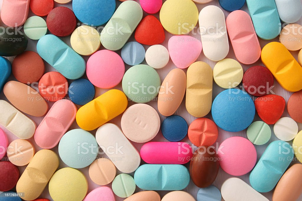 Pills variety stock photo