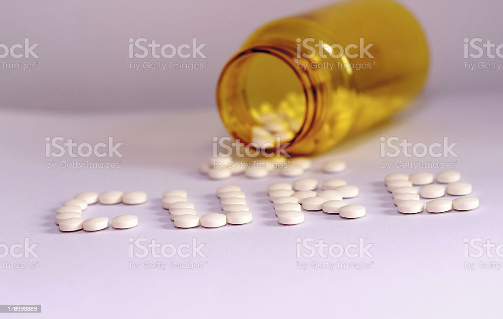Pills with bottle in background 2 royalty-free stock photo