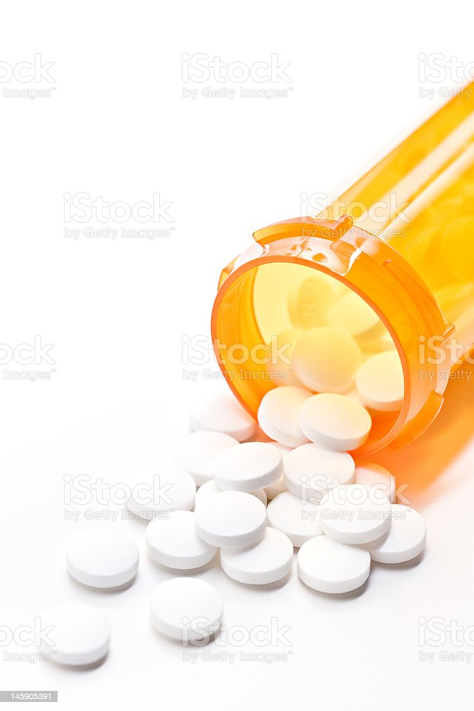 pills with bottle on white stock photo