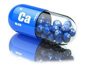 Pills with calcio CA element Dietary supplements. Vitamin capsul