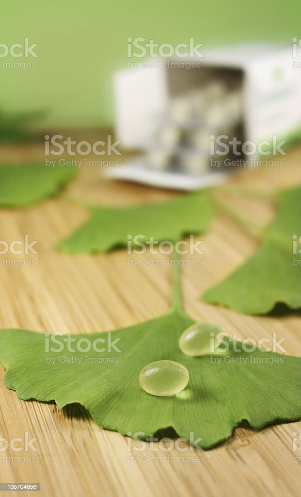 pills with ginkgo royalty-free stock photo