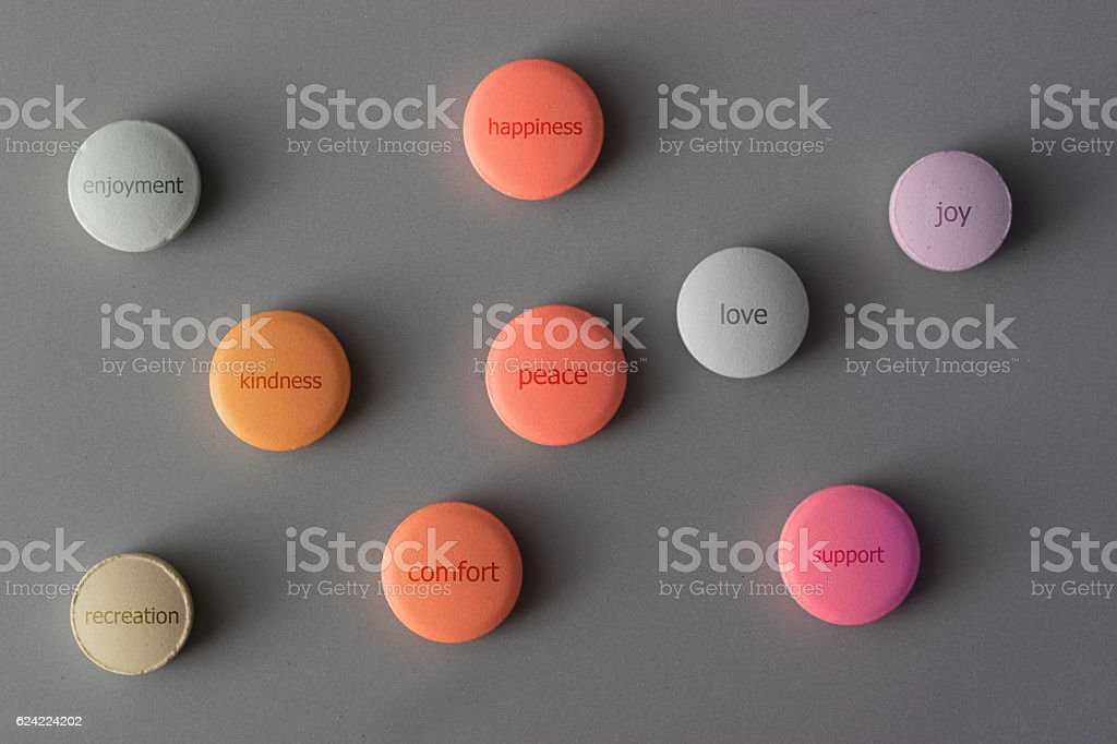 pills with positive emotions stock photo