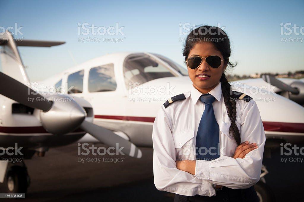 Pilot and Aircraft stock photo