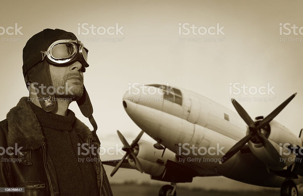 Pilot and His Plane stock photo