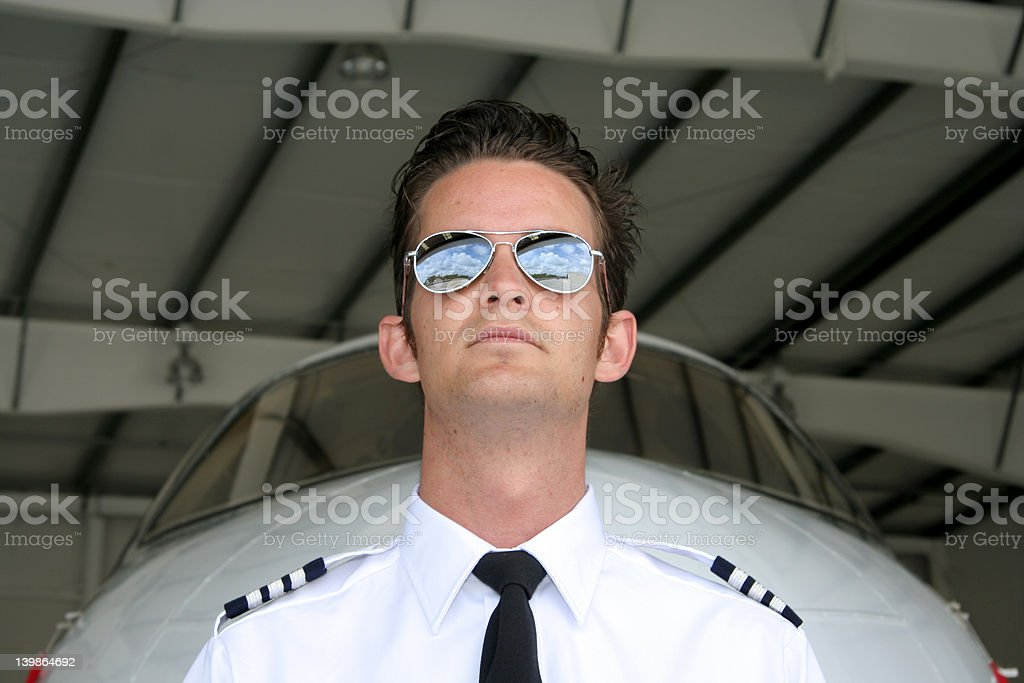 Pilot and Jet - shades royalty-free stock photo