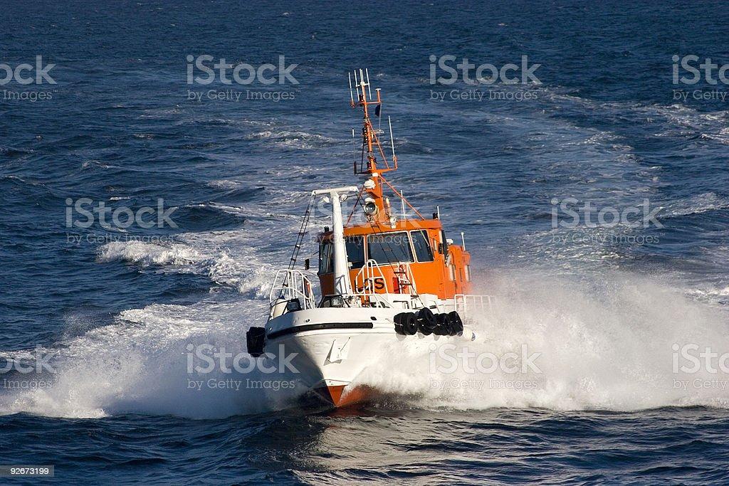 Pilot boat at full ahead royalty-free stock photo