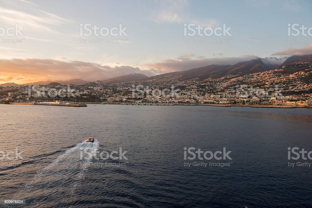 Pilot boat returning to port in Funchal, Madeira stock photo