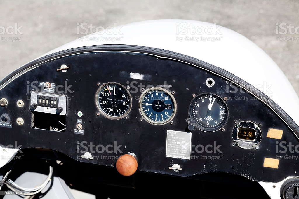 Pilot Control Panel Of Old Glider Plane stock photo