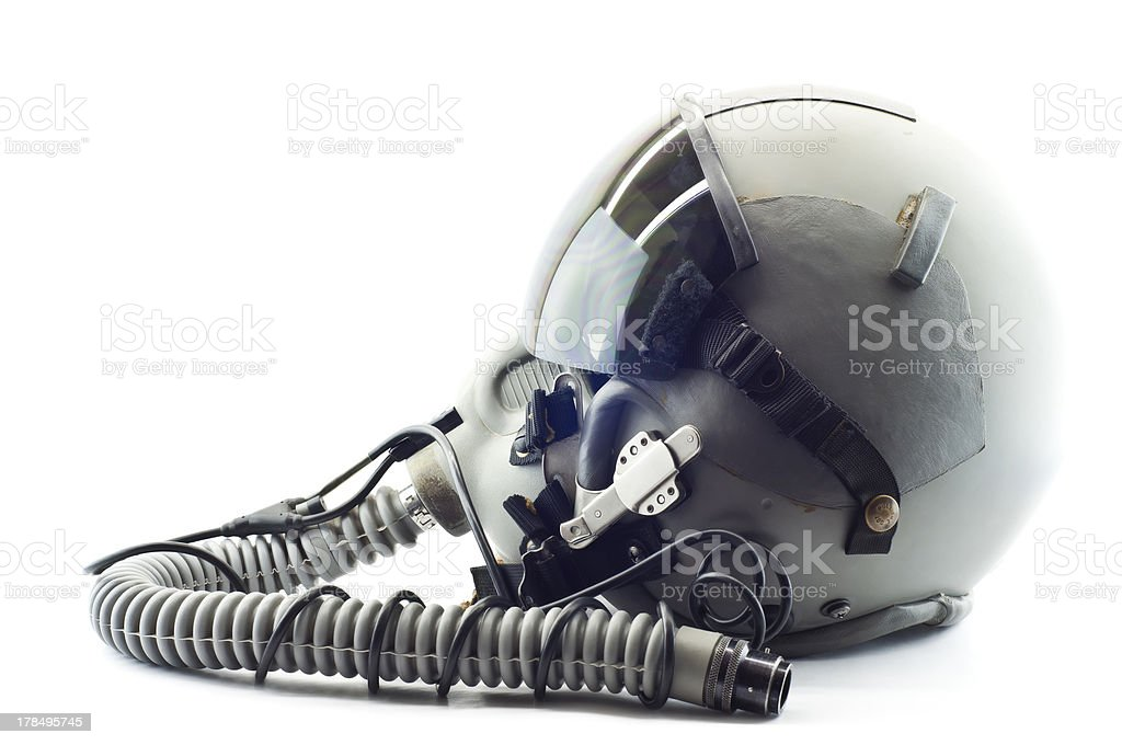 Pilot flight helmet. stock photo
