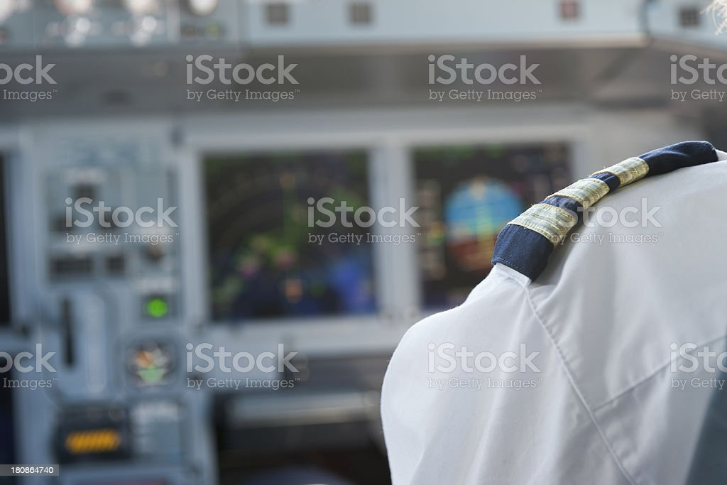 pilot flying an airbus stock photo