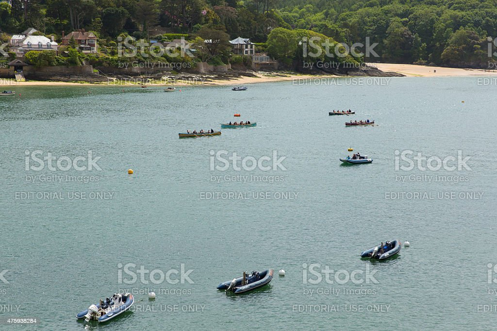 Pilot Gig Racing rowing event Salcombe Devon UK stock photo