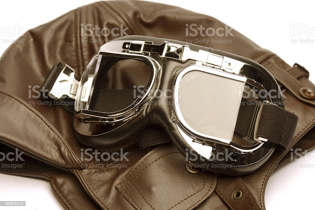 pilot hat and goggles stock photo