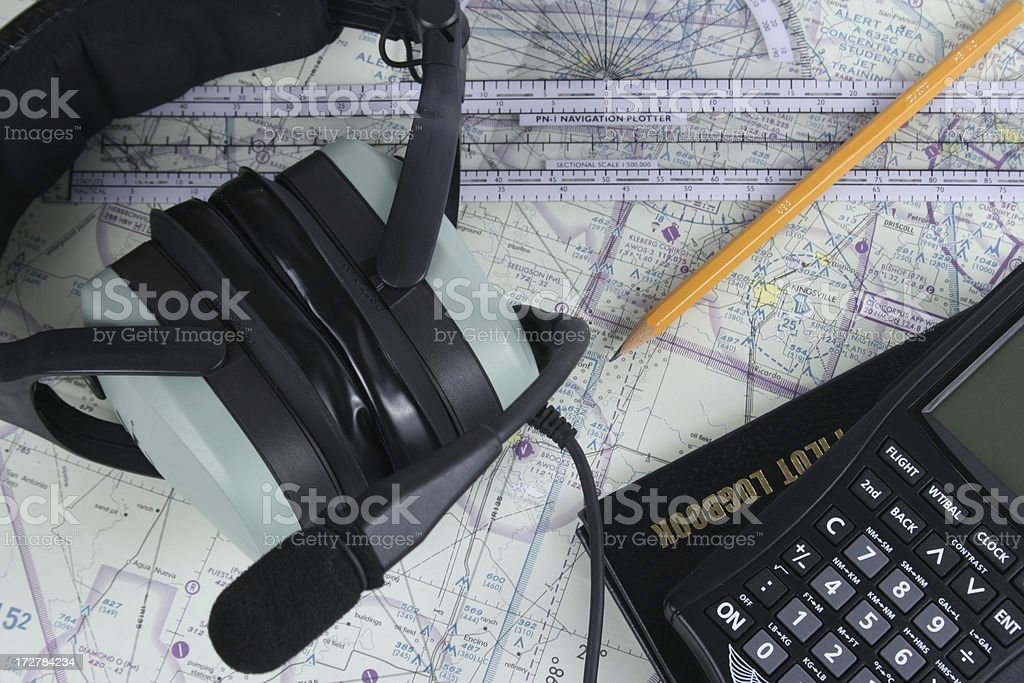 Pilot Headset and Navigation Supplies stock photo