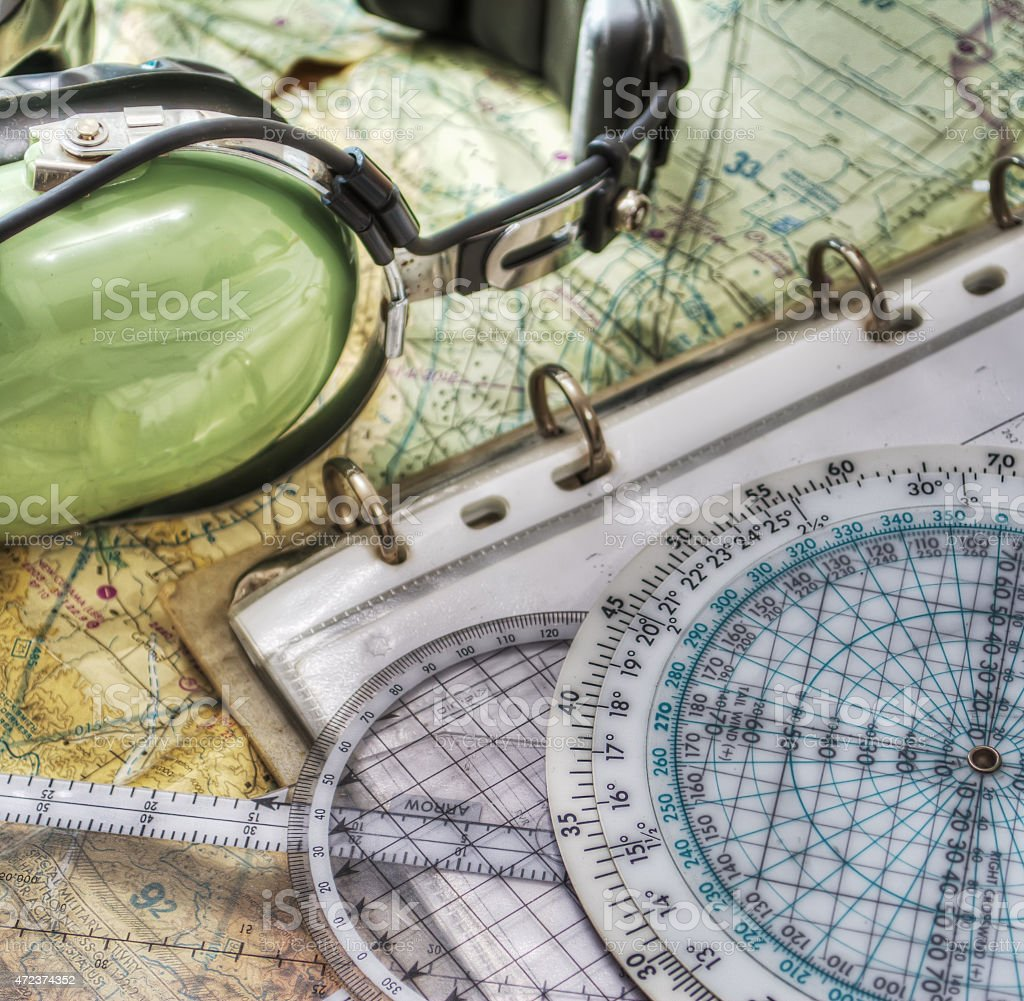pilot headset and other tools in hdr stock photo