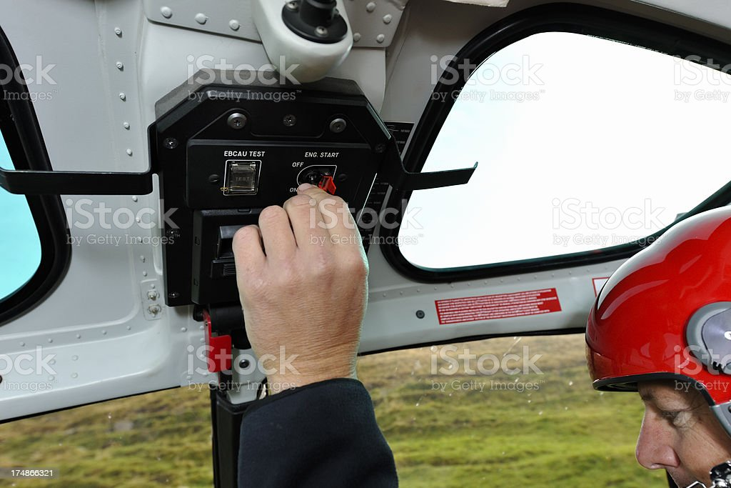 Pilot in Cockpit of a Modern Helicopter royalty-free stock photo