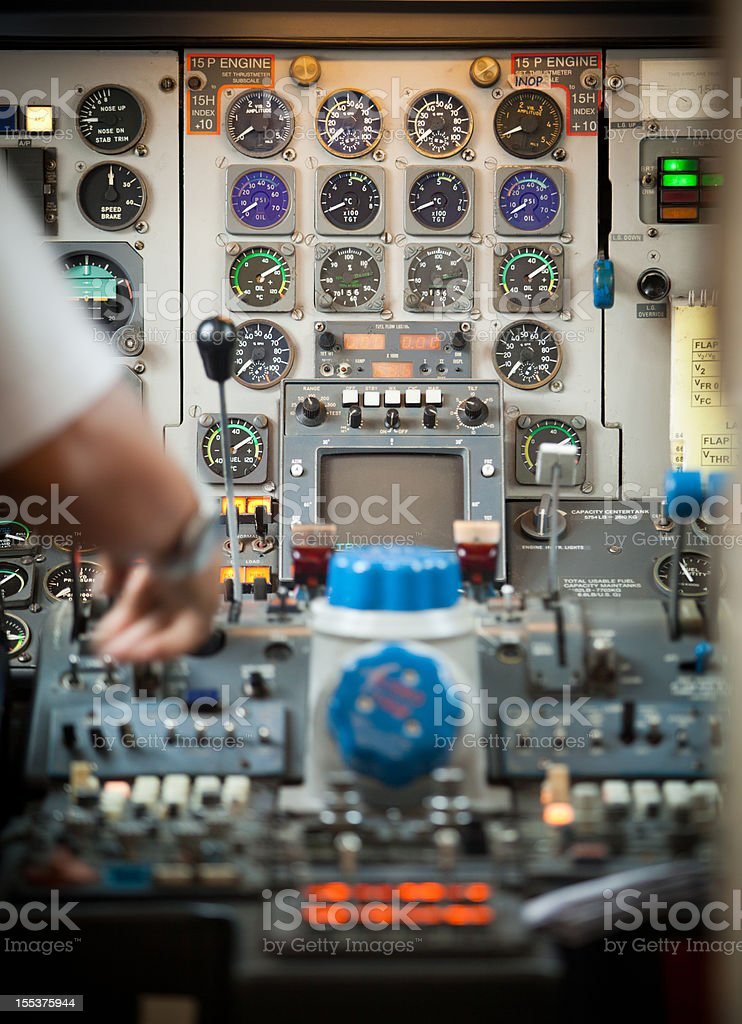 Pilot in decayed cockpit ready to take off royalty-free stock photo