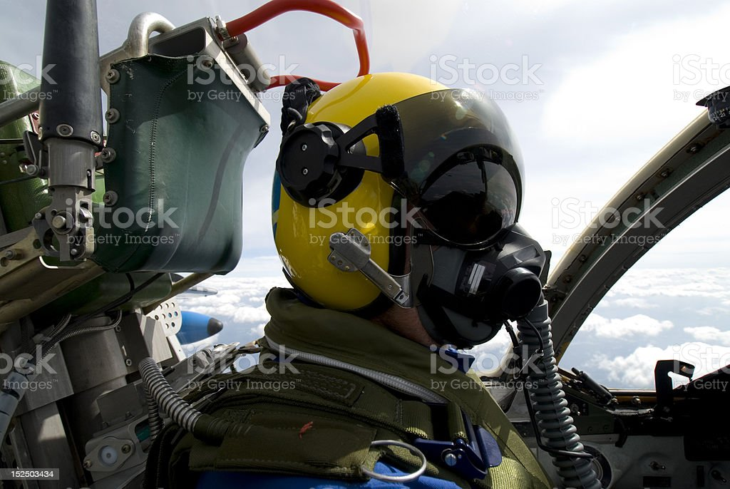 Pilot in his aircraft stock photo