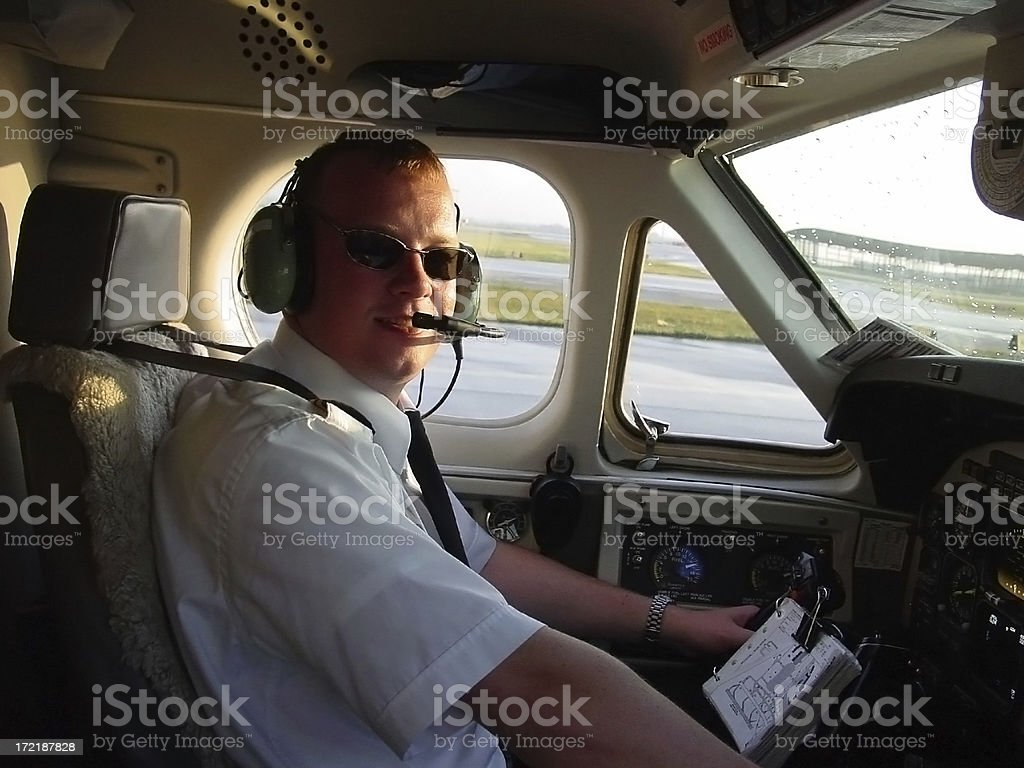 Pilot in the Cockpit royalty-free stock photo