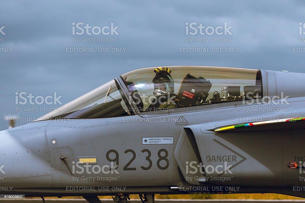 Pilot inside Saab JAS 39 Gripen at NTM 2014 stock photo